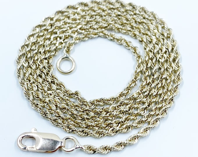Vintage 14k Gold Rope Chain | 21 1/8 inch Gold Chain | 1.9 mm Rope Chain