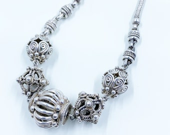 Vintage Bali Bead Necklace | Large Bali Bead Woven Chain