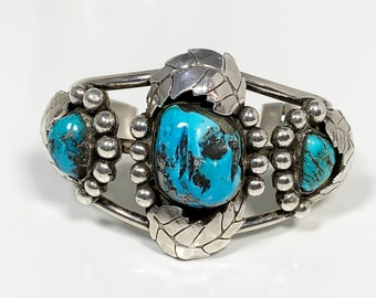 Vintage Silver Three Stone Turquoise Cuff | Morenci Turquoise Cuff | Southwest Silver Cuff Bracelet
