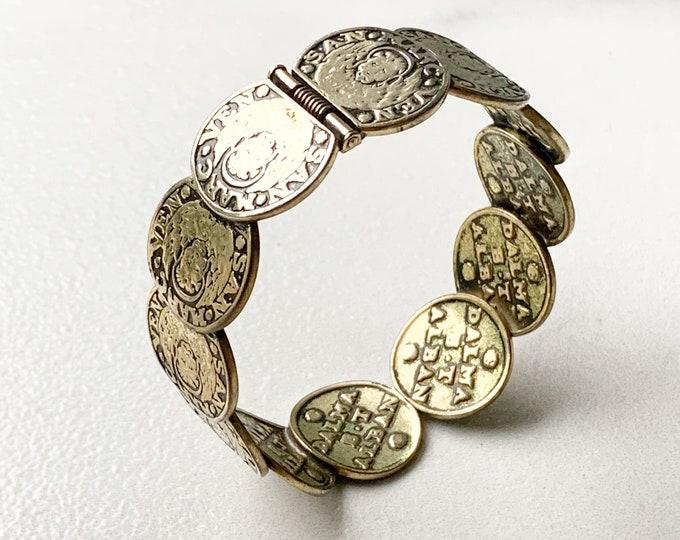 Vintage Whiting & Davis Coin Bracelet | Venetian Coin Hinge Cuff Bracelet