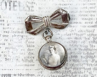 Vintage Silver Bow Lapel Pin with Bubble Ball Locket   Double Sided Photo Locket