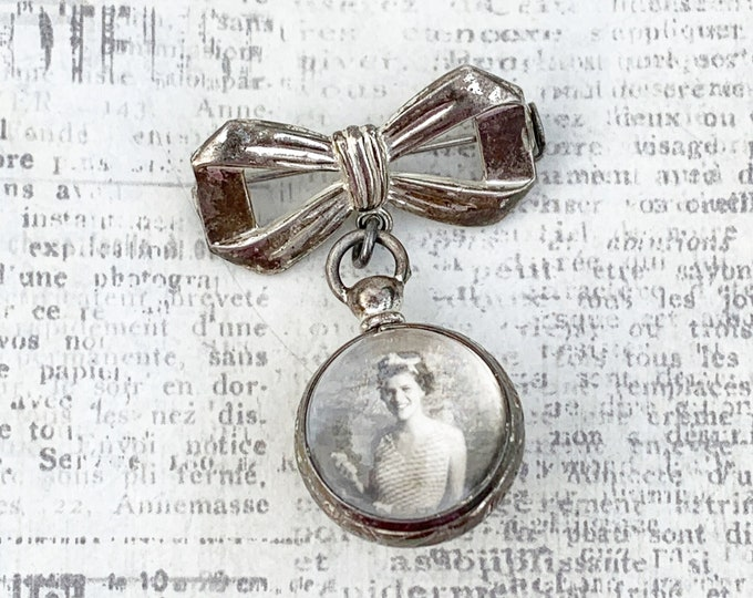 Vintage Silver Bow Lapel Pin with Bubble Ball Locket | Double Sided Photo Locket