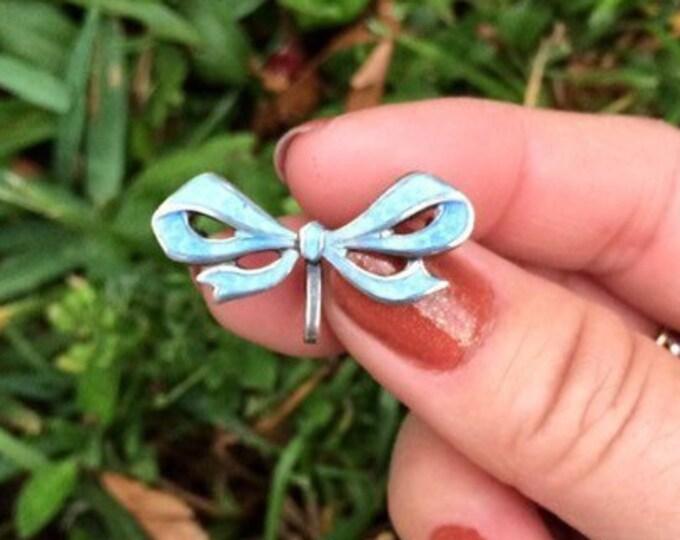 Vintage Enamel Bow Watch Pin | Small Guilloche Enamel Brooch | Light Blue Enamel Ribbon