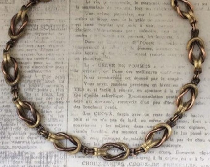 Vintage Love Knot Necklace | Two Tone Love Knot Choker | Gold Filled Links