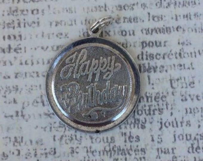 Vintage Happy Birthday Charm | Silver Engraved Charm