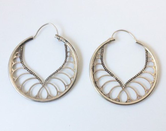Vintage Silver Filigree Hoop Earrings | Silver Pierce Work Earrings