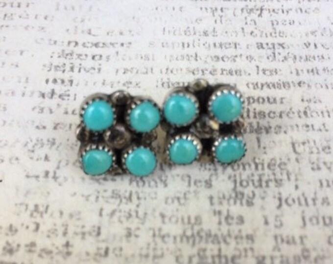 Vintage Turquoise Stud Earrings | Petit Point | 4 Stone Cluster Stud | Snake Eye Earrings