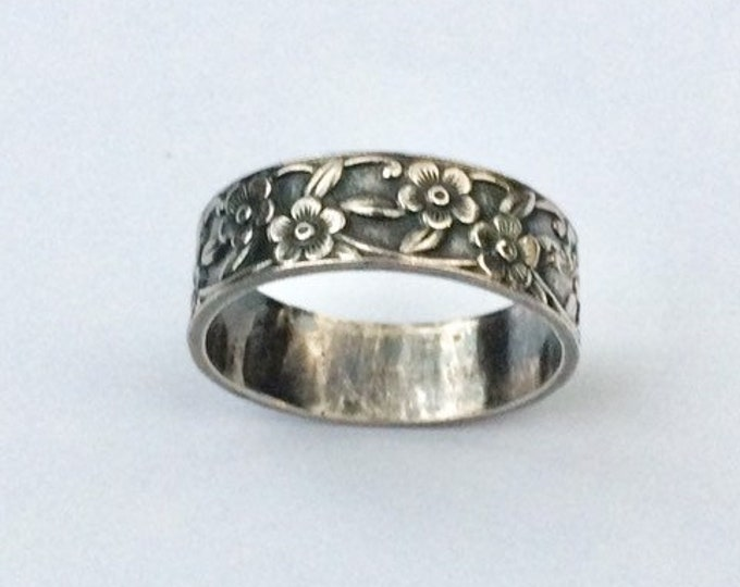 Vintage Silver Forget Me Not Ring | Sterling Silver Flower Band