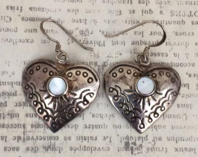 Vintage Silver Heart Earrings | MOP Earrings | Southwest Heart