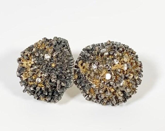 Vintage Modernist Urchin Earrings | Cast Silver | Diamond Urchin Earrings