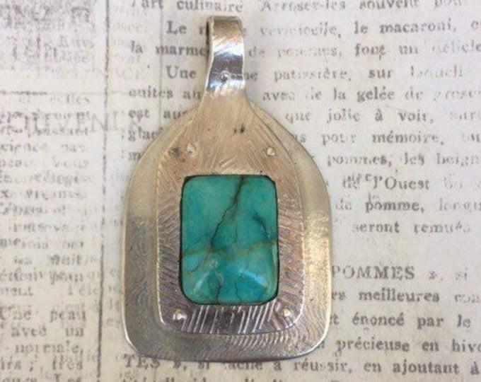 Silver Chrysocolla Pendant | Riveted Silver Stone Pendant