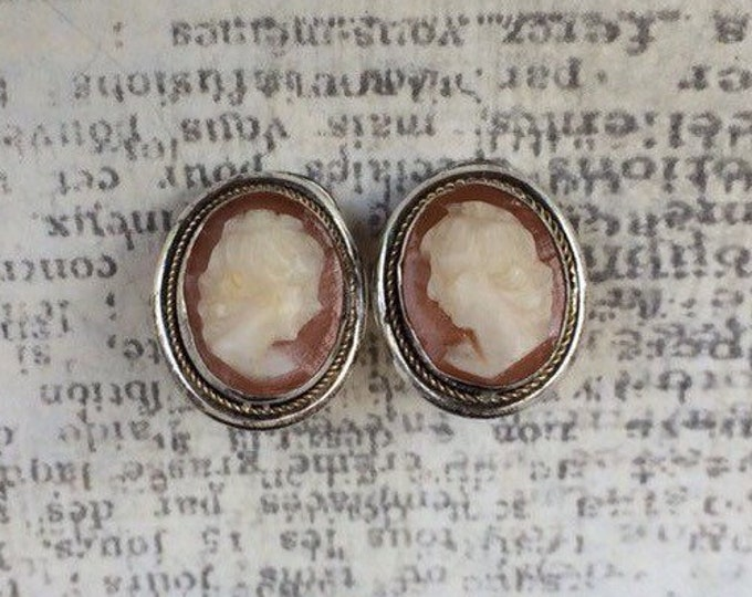 Vintage Silver Cameo Earrings | Carved Cameo Clip Ons