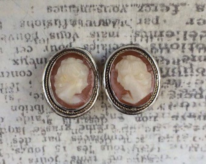 Vintage Silver Cameo Earrings | Clip On Cameo Earrings | Carved Cameo