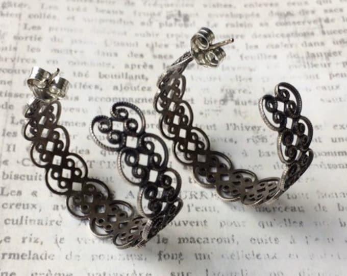 Vintage Silver Filigree Half Hoop Earrings
