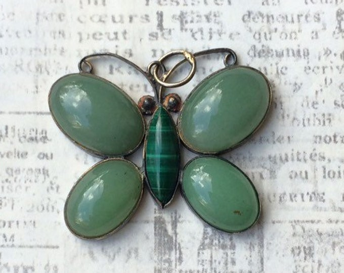 Vintage Silver Butterfly Pendant | Malachite and Aventurine | Butterfly Charm