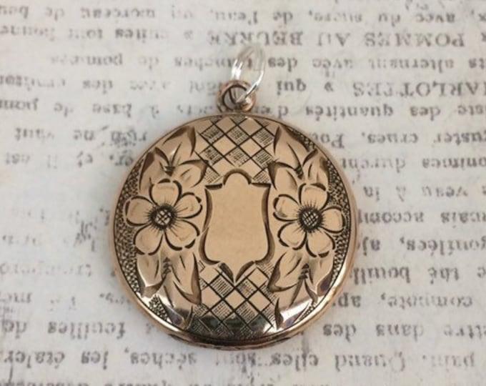 Vintage Flower and Shield Locket | Gold Filled | Engraved Locket