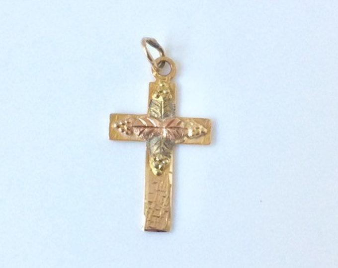 Vintage Black Hills Gold Cross Charm | | BHJ Co 10K Cross