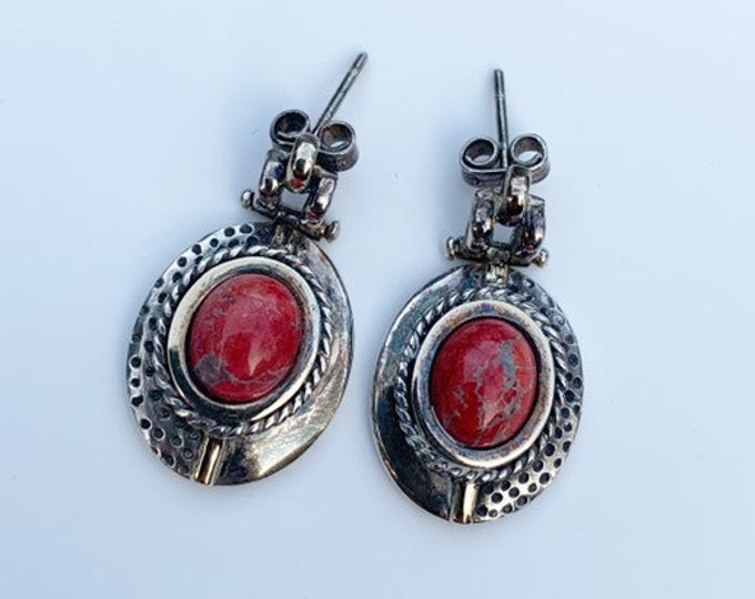 Silver Red Jasper Oval Earrings