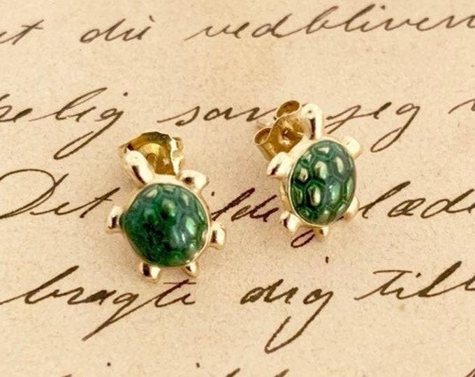 Gold Turtle Stud Earrings | 14K Tiny Studs Little Earrings | Green Enamel Turtle
