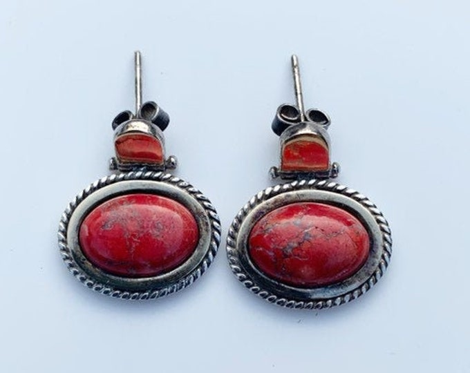 Silver Oval Red Jasper Earrings | Hinged Red Stone Earrings