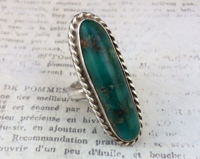 Vintage Silver Turquoise Ring | Long Turquoise Ring | Size 4 1/4