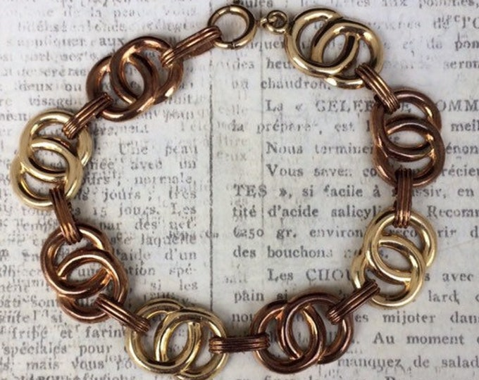 Vintage Gold Circle Bracelet | 10K Gold | Art Deco Two Tone Gold Bracelet