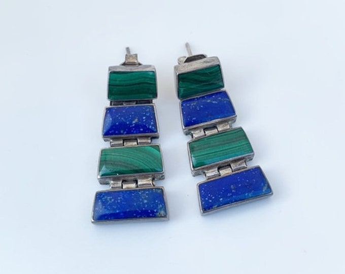 Vintage Silver Malachite and Lapis Lazuli Earrings | Drop Articulated Earrings