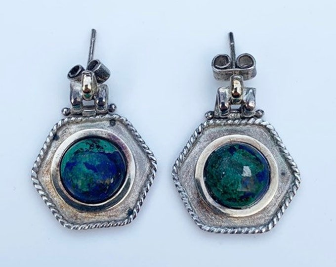 Silver Stone Hexagon Earrings | Azurite and Malachite