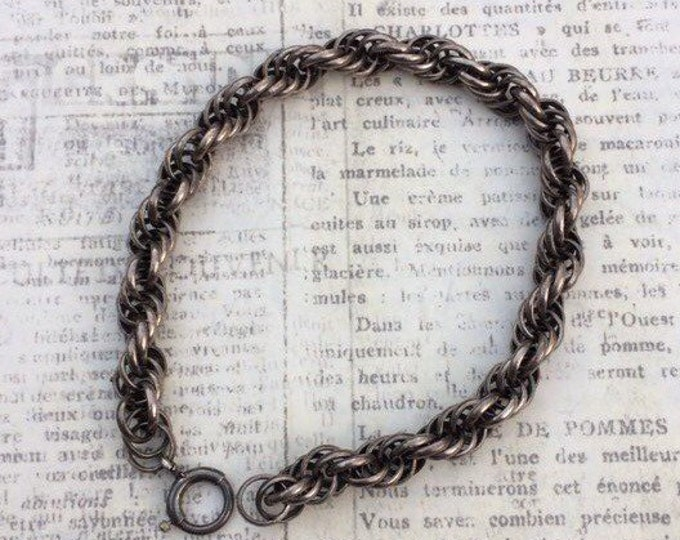 Vintage Silver Rope Chain Bracelet | Rope Link Bracelet