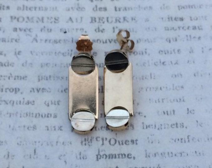 Vintage Gold Screw Earrings | 14K Flat Head Screw Earrings