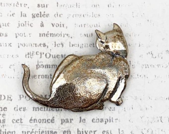 Vintage Silver Cat Brooch | GFMW Brooch