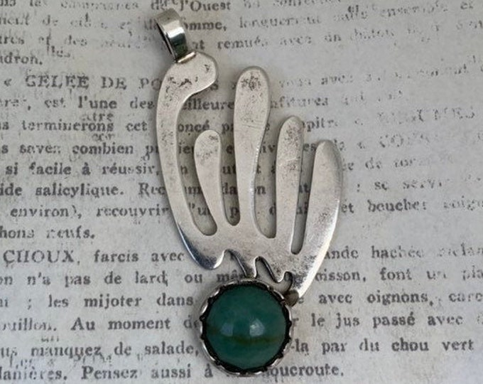 Vintage Modernist Comet Pendant | Aventurine Stone |  Modernist Green Stone Pendant