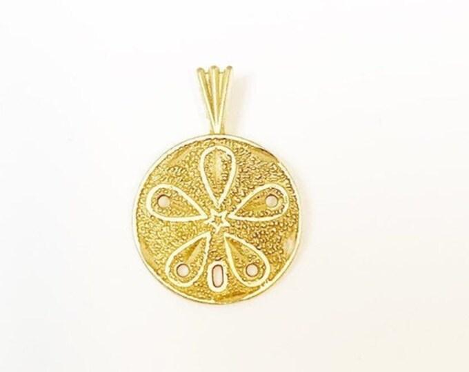 Gold Sand Dollar Charm | 14K Gold Charm Pendant | Gold Beach Charm