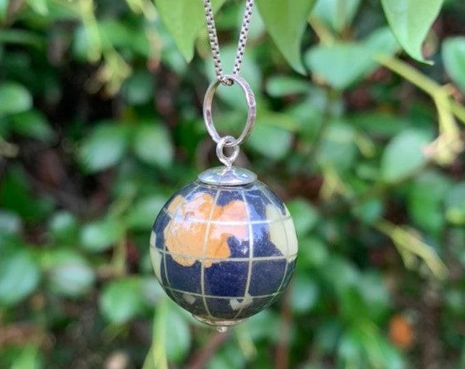 Vintage Silver Globe Pendant | Gemstone Globe Charm | 925