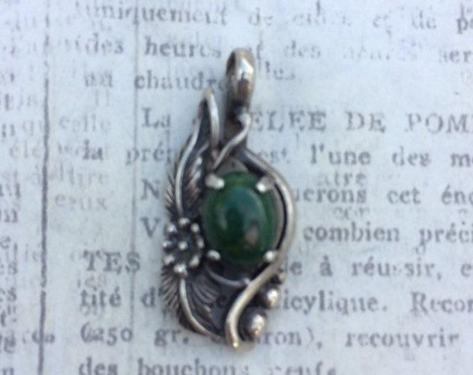 Vintage Turquoise Silver Pendant | Flower Pendant | DTR Sterling