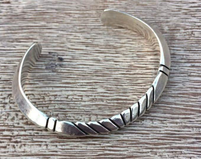 Vintage Silver Thick Cuff Bracelet | Hand Chiseled Cuff | Ron Henry Navajo | Native American Jewelry