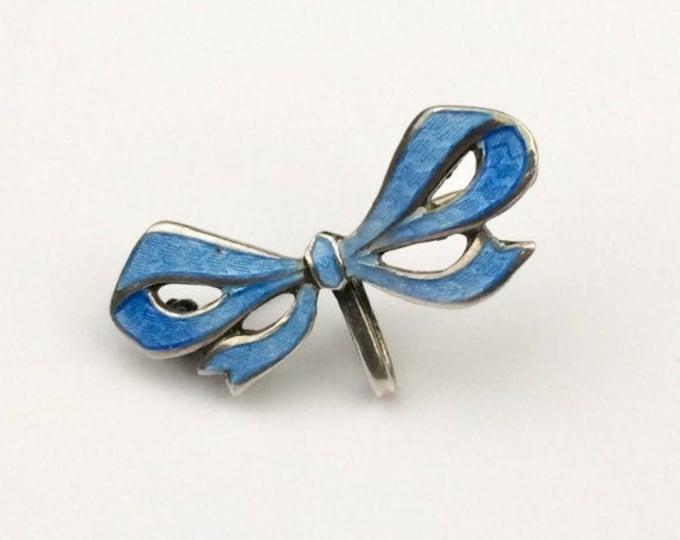 Vintage Enamel Bow Watch Pin | Guilloche Enamel Ribbon