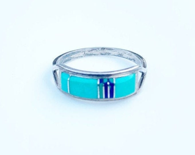 Silver Turquoise Inlay Ring | Multi-Stone Inlay | CS Lonjose Ring | Size 8