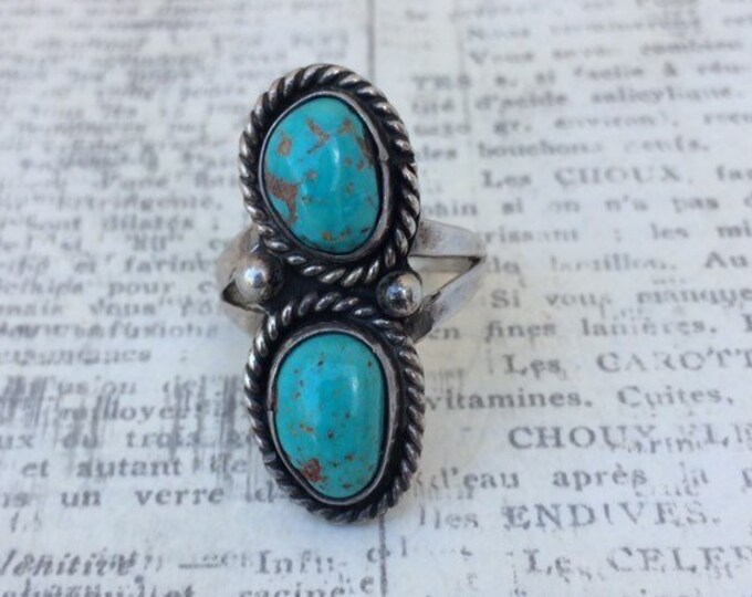 Vintage Silver Turquoise Two Stone Ring | Size 7