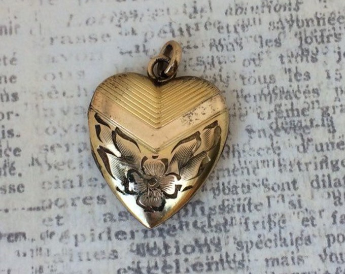 Vintage Heart Locket | Gold Filled | Floral Engraving | Bates & B Locket | Sweet Heart Locket