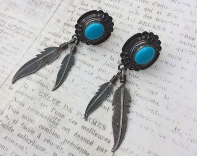 Vintage Turquoise and Feather Earrings | Q. T. Quoc Turquoise Inc.  Albuquerque | Silver Feather Earrings