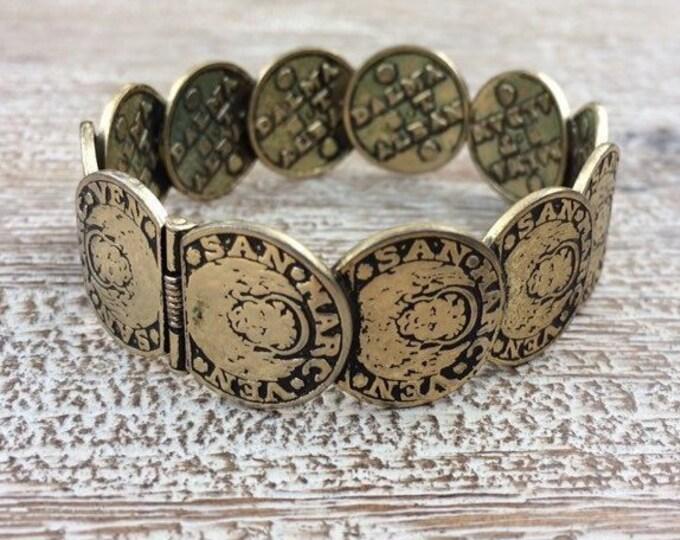 Vintage Whiting & Davis Coin Bracelet   Venetian Coin Hinge Cuff Bracelet