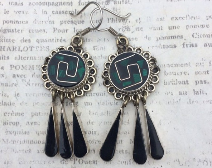 Vintage Silver Mexican Inlay Earrings | Malachite and Black Enamel Inlay