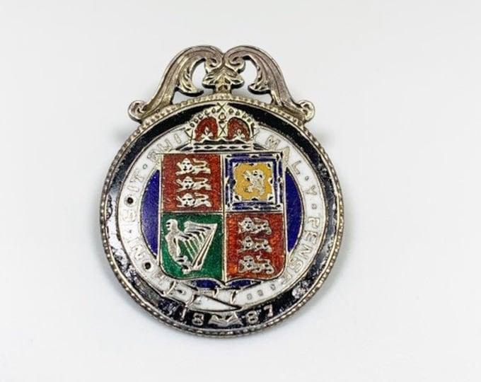 Antique Victorian Enamel Coin Brooch |  Honi Soit Qui Mal Y Pense | Queen Victoria | 1887 Shilling