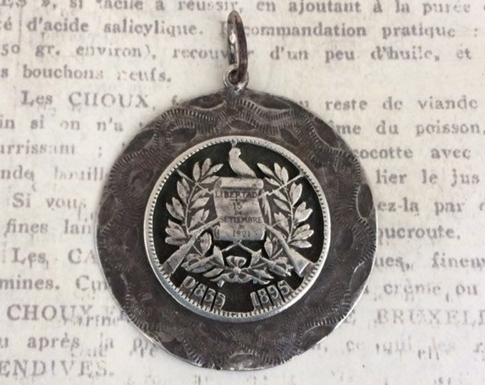 Vintage Silver Coin Charm | 2 Reales | 1895 Guatemala Coin Jewelry