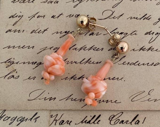 Vintage Gold Filled Coral Dangle Earrings | Coral Carved Flower Drop Earrings | Pink Coral | 14K GF