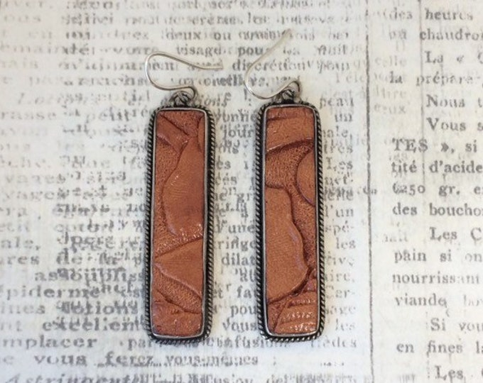Silver Tooled Leather Earrings | Tooled Leather Jewelry | Southwest Earrings