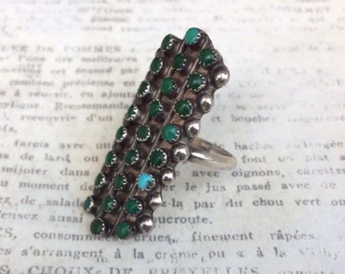 Vintage Snake Eye Turquoise Ring | Petit Point | 25 Snake Eye Ring | Long Turquoise Ring