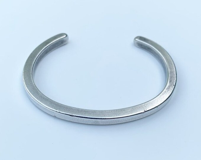 Vintage Silver Wire Cuff   Sterling Silver Cuff Bracelet   Thick Gauge Wire