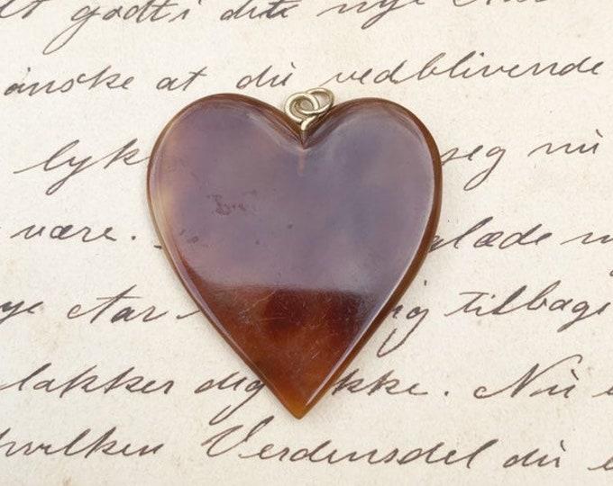 Victorian Tortoise Shell Heart Pendant | Heart Charm